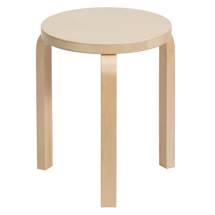 This stackable stool was designed by Alvar Aalto during the years of 1932-33. Aalto developed the bent L-shaped leg to achieve his ultimate design aesthetic which mixed art and nature with technology.