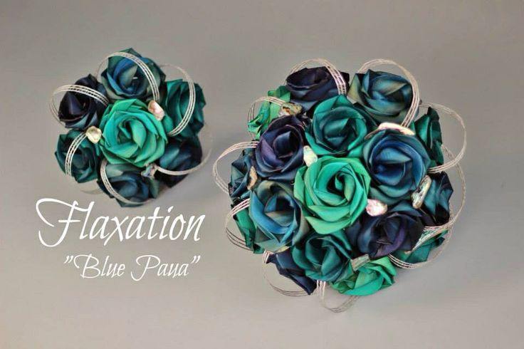 Blue paua bouquets by Flaxation.   www.flaxation.co.nz