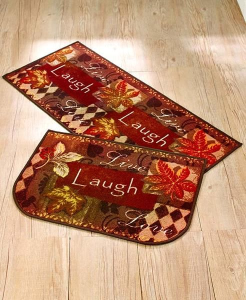 "Coordinate your living area for the season with this attractive Live Laugh Love Fall Tapestry Rug Set. Each piece features the phrase ""Live Laugh Love"", autumn"