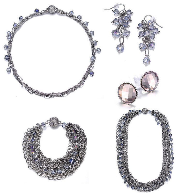 Clarice: Silver & Topaz Jewelry Set With Magna Clasp