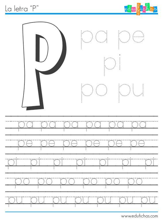 Ficha de las sílabas con P. Estas tres fichas de actividades son parte del grupo de fichas de letras con las sílabas, en ellas aprendemos la combinación de la letras con las cinco vocales, en este caso la letra P (pa, pe, pi, po, pu), y sus combinaciones con L (pla, ple, pli, plo, plu) ... Ver más...