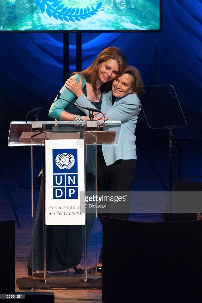Her Majesty Queen Noor of Jordan and Sylvia Earle speak on stage during the United Nations 2014 Equator Prize Gala at Avery Fisher Hall, Lincoln Center on September 22, 2014 in New York City.