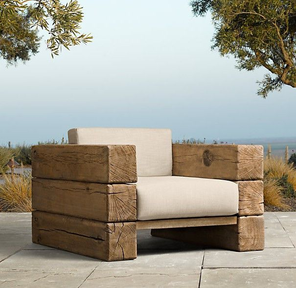 Rustic Outdoor Furniture Lounge Chair, Rustic Outdoor Furniture