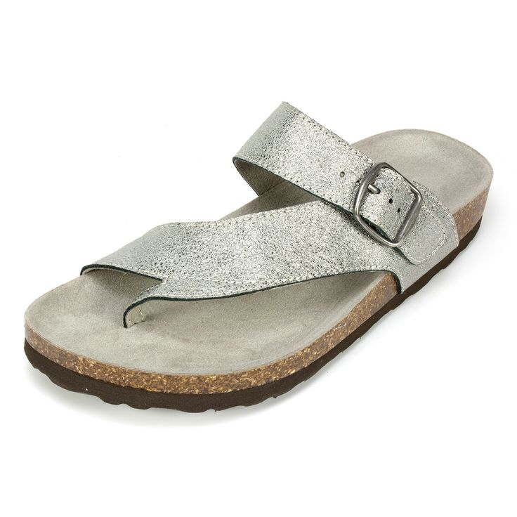 White Mountain Shoes Carly Antique Silver Leather Sandal