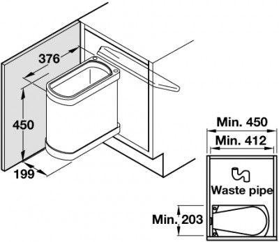 uno under sink waste bin stainless steel 450mm cabinet 18 litre