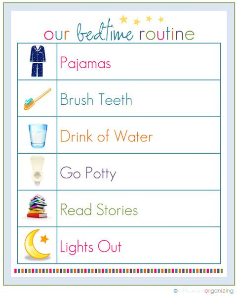 Bedtime Routine chart: IHeart Organizing: Free Printables