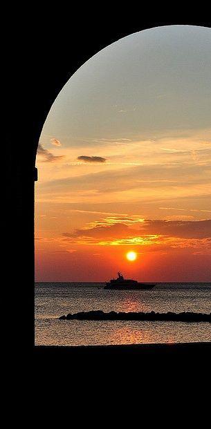 The sunset view from Amerigo's place on the sea, La Rotonda sul Mare (www.larotondasulmare.com)