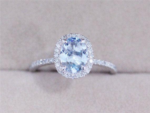 VS 6x8mm 1.15ct Blue Aquamarine .23ct Diamond Ring Solid 14K White Gold Ring $388.00 Oval Cut AbbyandWills