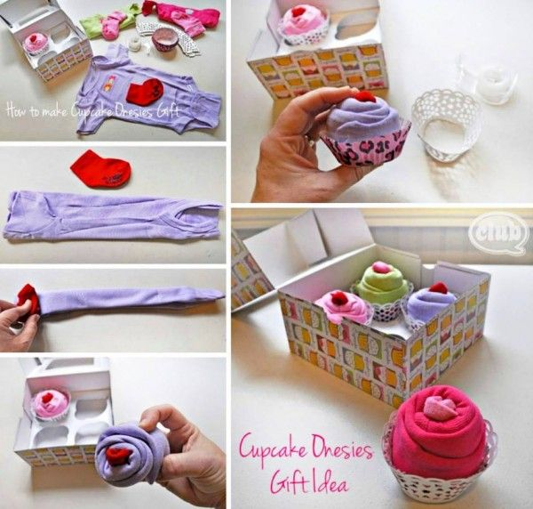 How to DIY Cute Cupcake Onesies Baby Gift #diy, #baby #gifts