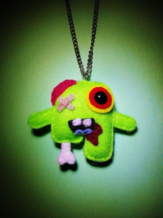 Felt Zombie Necklace Zombie Pendant Cute by SidewaysEightart, $20.00