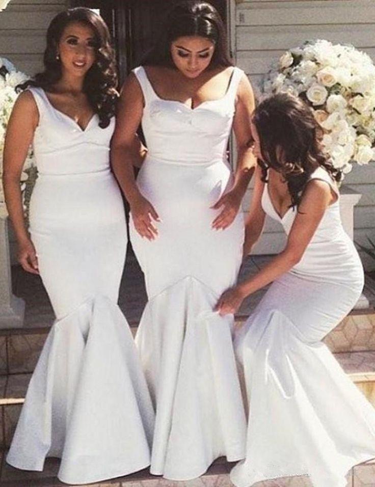 White Bridesmaid Dresses,Mermaid Bridesmaid Dress,Long Bridesmaid Gowns,Simple Bridesmaid Dresses,Floor Length Bridesmaid Gowns, Elegant Wedding Party Dress,Simple Prom Dresses,V-Neck Bridesmaid Dresses