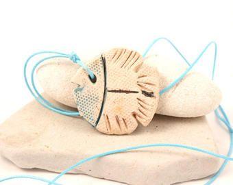 Fish necklace , ceramic pendant fish, white fish, fish art , summer