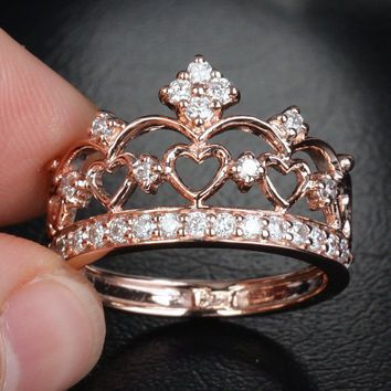 Unique 14K Rose Gold Heart Crown Engagement Ring - Diamond Wedding Band Ring, Anniversary Ring, Other Metal Available