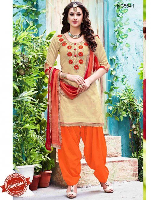 Cream & Orange Chanderi Silk Patiala Suit