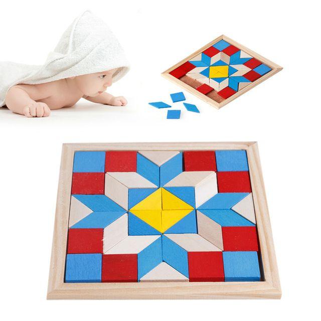 Деревянный tangram логические головоломки tetris дошкольного игры деревянные детские play игрушки
