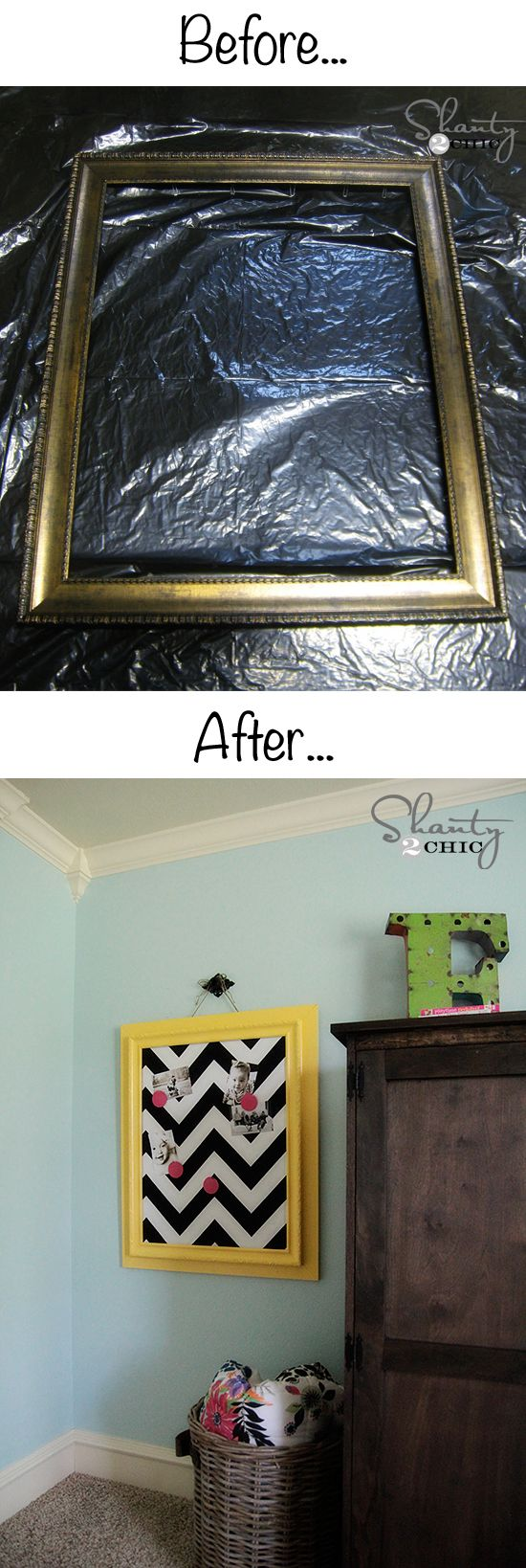 How to make a magnetic memo board from an old frame... So cheap and easy! Shanty-2-Chic.com diy home decor on a budget