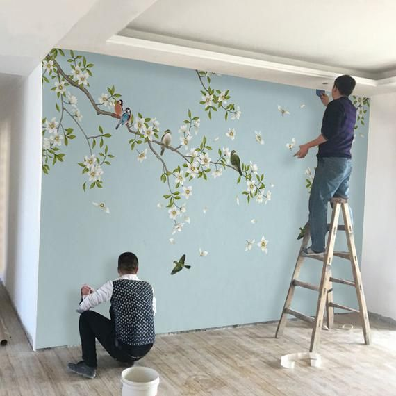 Birds and flowers wallpaper, wall mural, Floral, wall art, wall decal, blue Floral Wall sticke   – Dibujo