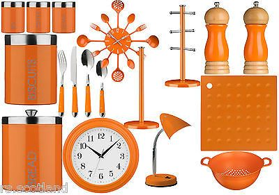 Orange kitchen storage tea, #coffee,sugar ,cutlery set, #clock and #accessories , View more on the LINK: http://www.zeppy.io/product/gb/2/161356126276/