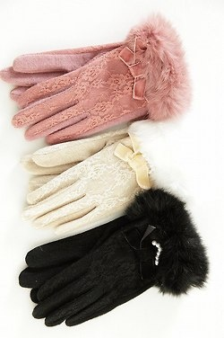 Beautiful gloves with some of my fave features... lace and bows.