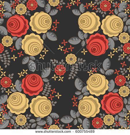 Retro background with painted red and yellow flowers and leaves on black #vectorpattern #patterndesign #seamlesspattern
