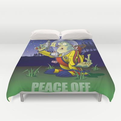 Peace Off! Duvet Cover by Nameless Shame - $99.00
