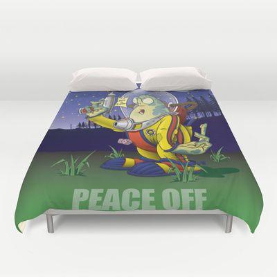 Peace Off! Duvet Cover by Nameless Shame - $99.00