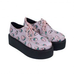 Sweet Strawberry Print and Lace-Up Design Women's Creepers Shoes