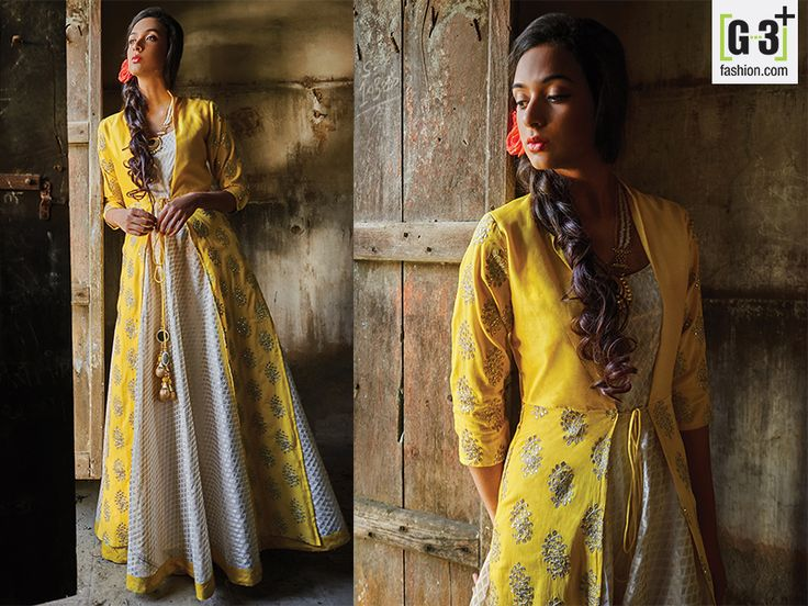 Hover to zoom  Yellow And Cream Silk Anarkali Suit