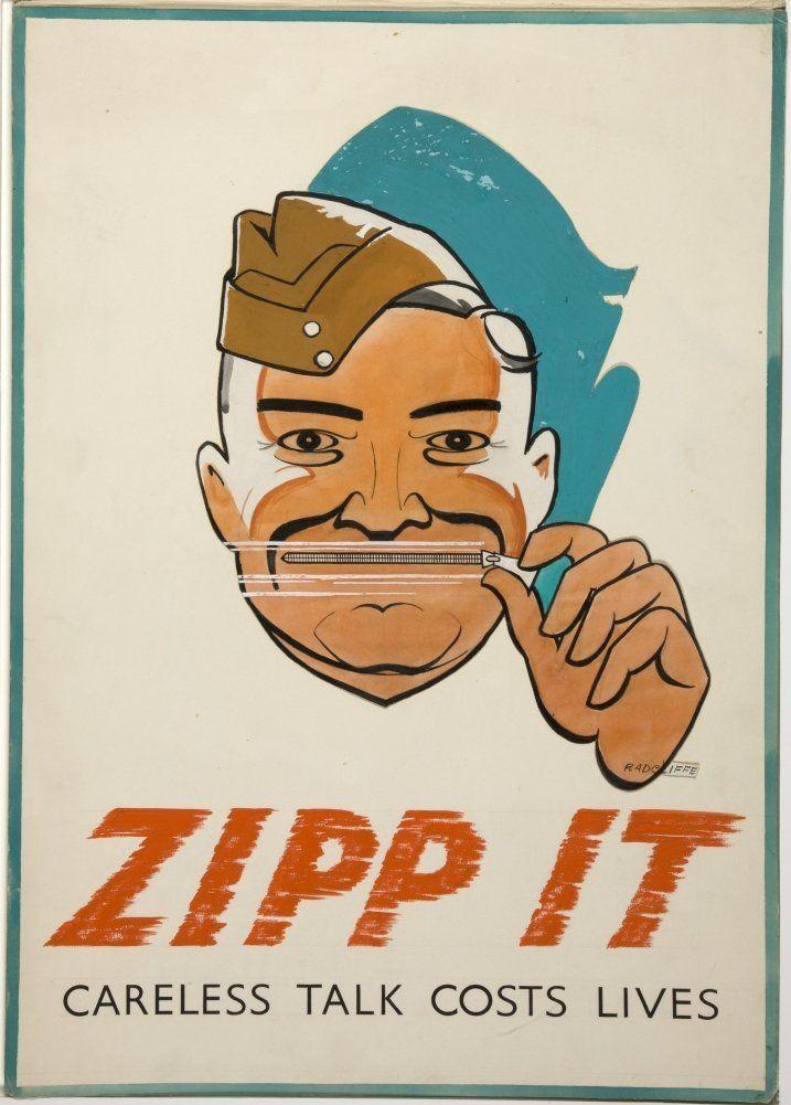 Vintage británica WW2 1939 a 45 Propaganda Zipp ella. Charla descuidada cuesta vidas, Reproducción sobre Calidad 200gsm de espesor en Cartel A3 Tarjeta Brillante: Amazon.es: Hogar