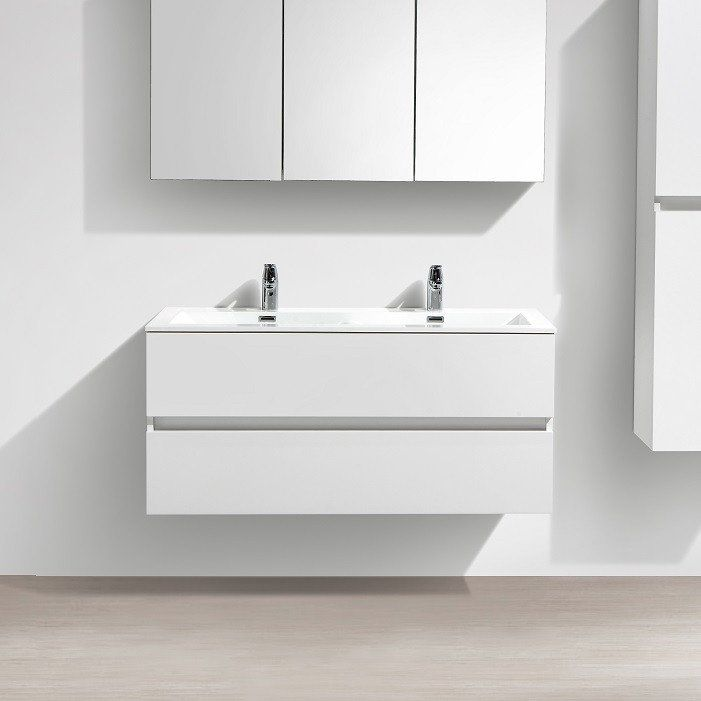 Meuble Salle De Bain Design Double Vasque SIENA Largeur 120 Cm Blanc Laqué    Le Monde