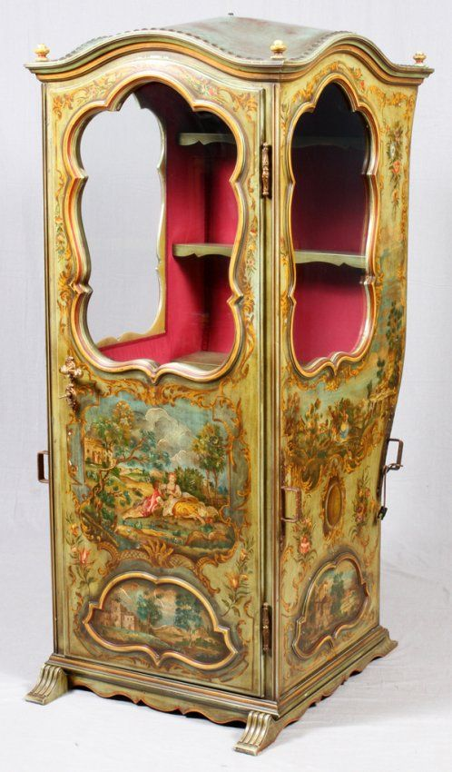 ANTIQUE CONTINENTAL HAND PAINTED SEDAN CHAIR : Lot 111092