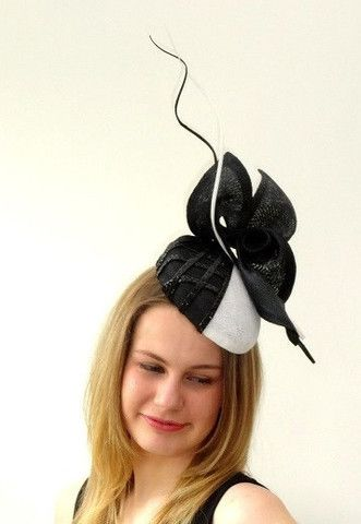 side sitting hat with braid detail and 'abstract fine straw flower ' – Sassy Millinery Onlinestore