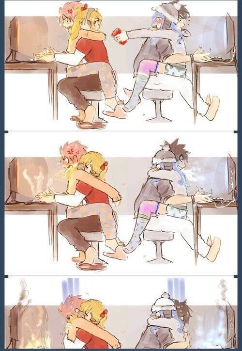 fairy tail/ couples game night for gruvia and nalu :) this is cute