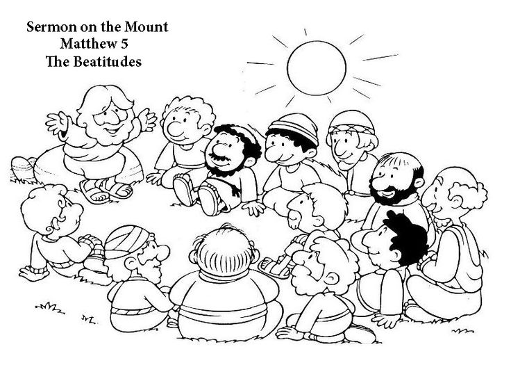 BEATITUDES COLOR PAGE MATTHEW 5 SERMON ON THE MOUNT