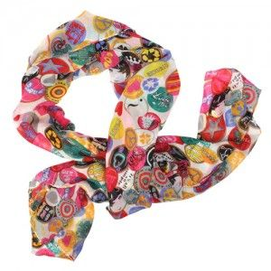 Multicoloured Badge Print Scarf WAS $10.95 NOW $6.95