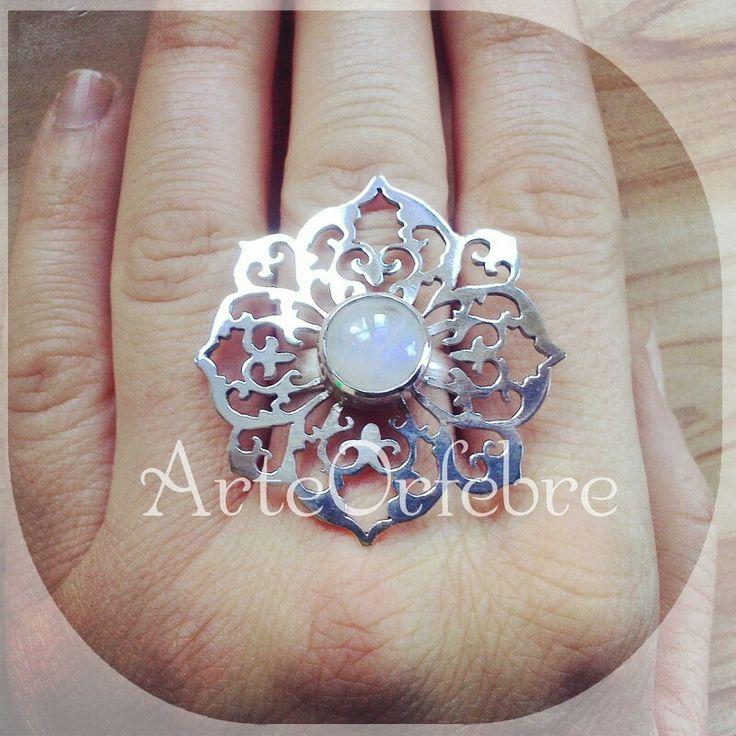 ::Anillo plata Calado & Piedra Luna :: ArteOrfebre