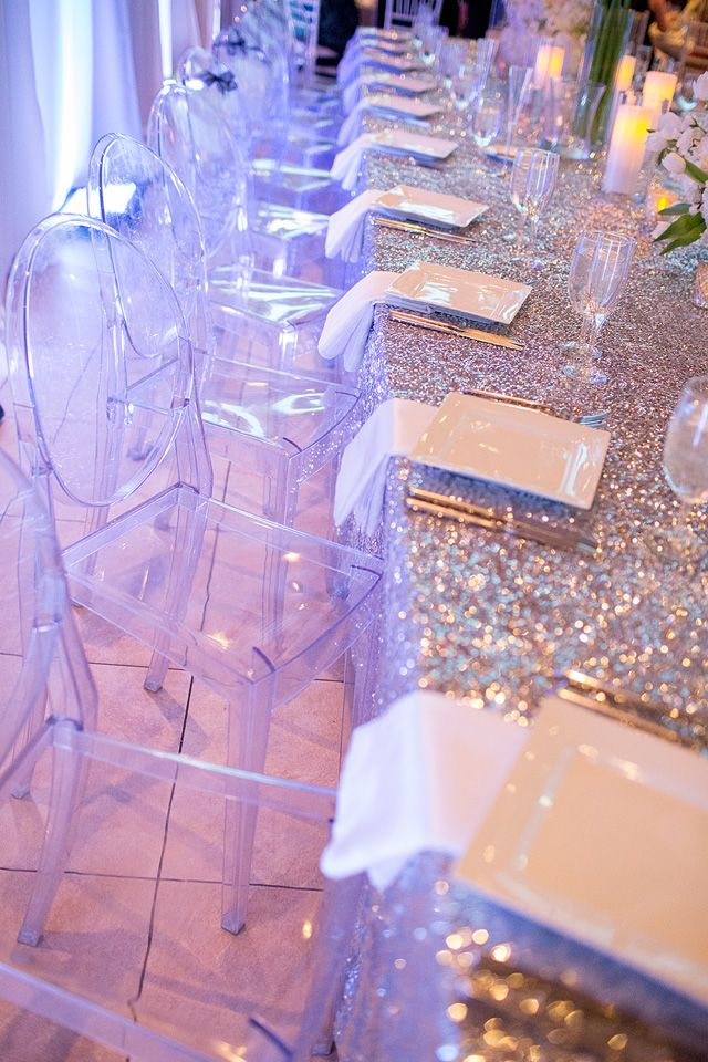 modern shimmery white wedding reception table and ghost chairs, photo by capturedbyjen.com