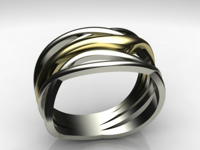 Gold and whitegold ring