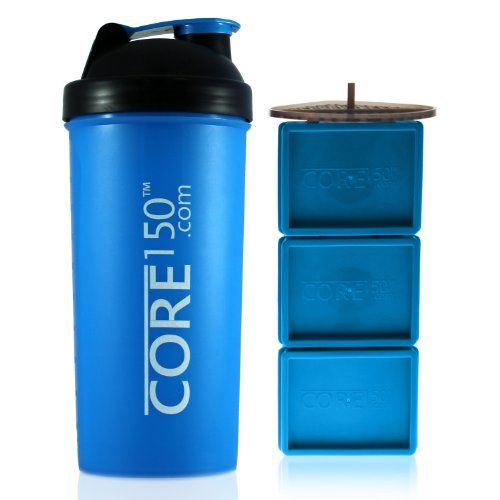 20% cut off LOWEST PRICE! Core150 NEW 2014 Blue 1 Litre/35oz Protein Shaker Bottle with 3 Storage Compartments ideal for protein shakes, diet supplements, vitamins and fruit