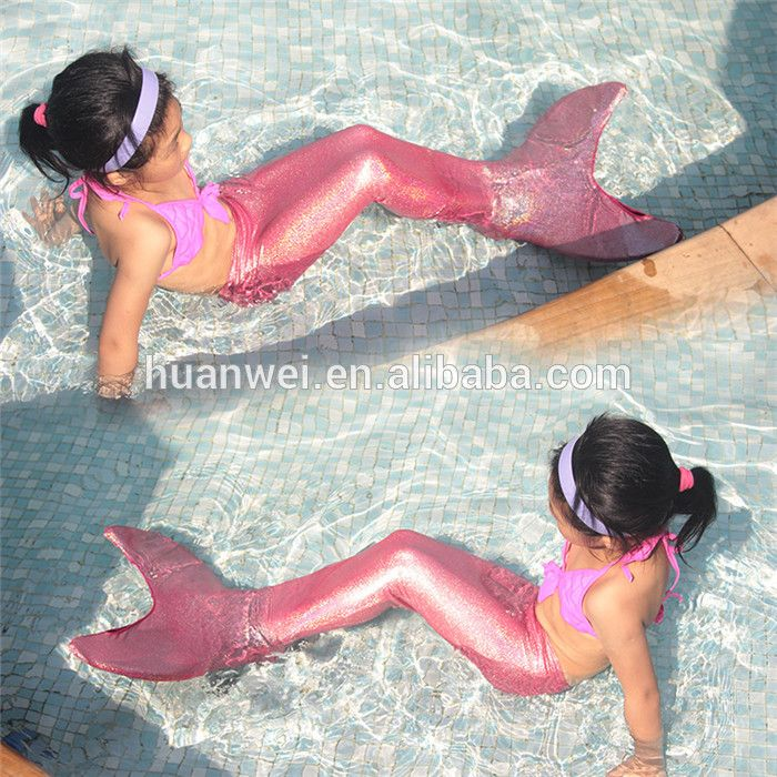 Brightly Pink girls swimwear cheap hot selling swimsuit sexy mermaid tail for swimming