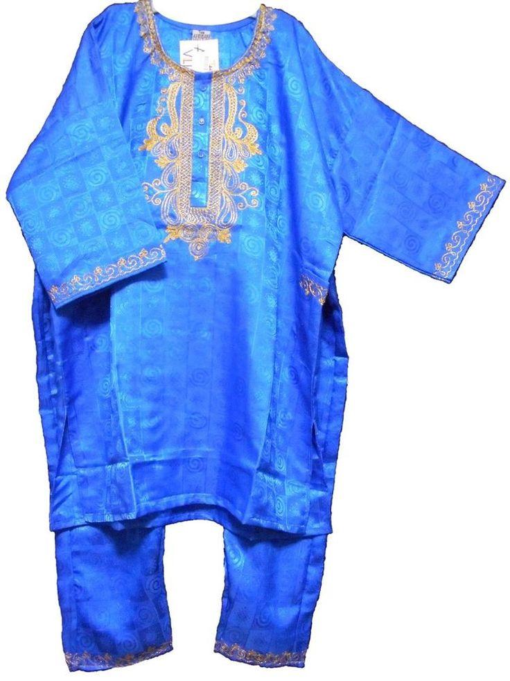 Mens Pant Suit African 3 PCs Clothing Wedding Church Dashiki Free Size Blue Gold #Handmade #TraditionalPantSuit