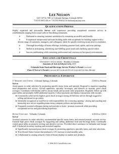 Sample Resume for a Restaurant Server