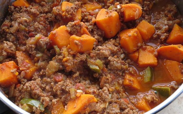 Bison Sweet Potato and Chilli | 1T coconut oil 1 lb ground bison 1 sweet potato cubed 1 medium onion 2 small Zucchini diced 2 small yellow squash 2 garlic cloves 1 jalapeno – clean seeds 2 T cumin 1 T chilli powder 1/2 t paprika powder