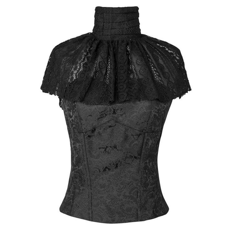 Victoriaanse top met hoge hals en kant zwart