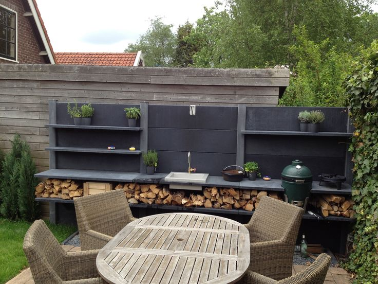 WWOO kitchen anthracite with a Big Green Egg, sink and a lot of working space..