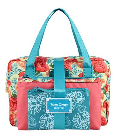This Three-Piece Blue Floral Cosmetic Bag Set by Jacki Design is perfect! #zulilyfinds