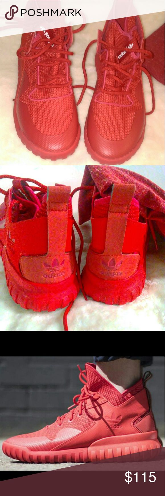 Adidas Tubular X Red October NWOT Nice Hi top red shoe.   Brand new without Box New Never been worn 100% Authentic adidas Shoes Sneakers
