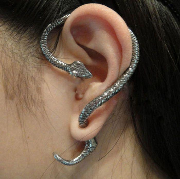 So Cleopatra! Silver Snake Wrap Left Ear Cuff Stud Earring