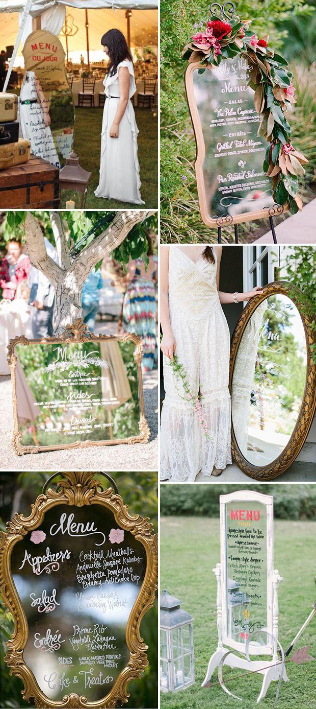 Mirror Wedding Menu Ideas | www.onefabday.com