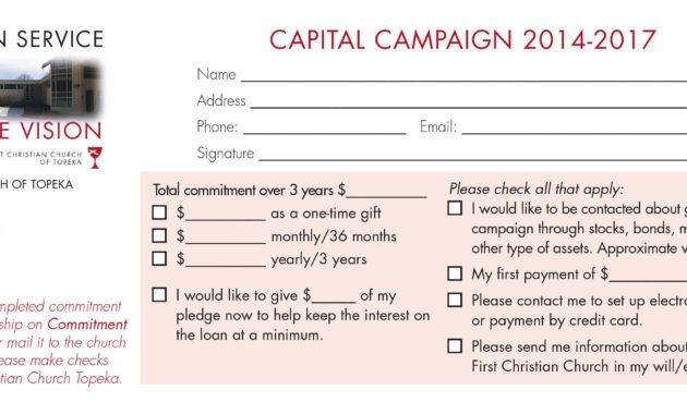 The Appealing Church Capital Campaign Pledge Card Samples Regarding Church Pledge Card Template Imag Church Capital Campaign Capital Campaign Business Template